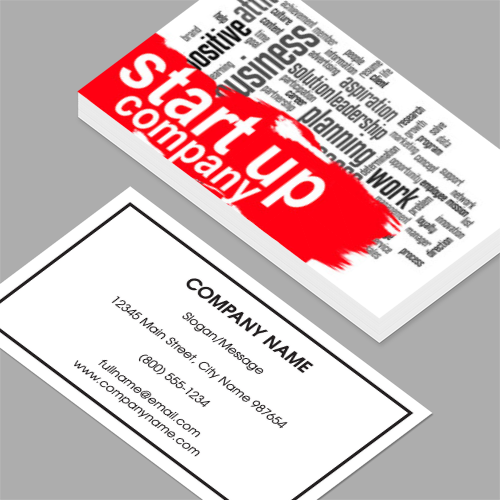 Co founder business cards standard horizontal customizable co founder business cards start up company word cloud with red banner standard horizontal reheart Images
